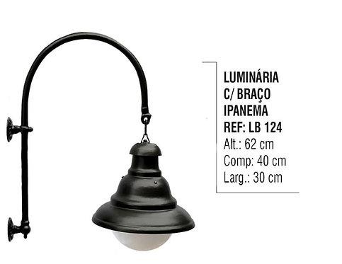 Luminária Ipanema Com Braço Externo/Interno em Alumínio 62cm
