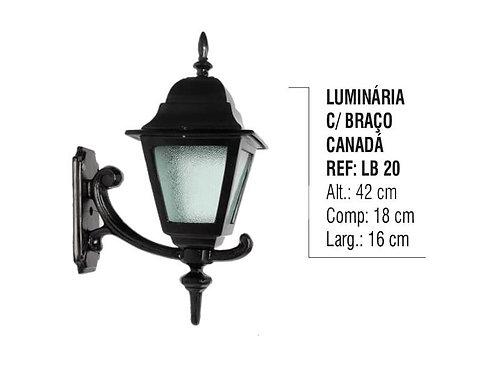 Luminária Canada com Braço Externa/interna em Alumínio 42cm