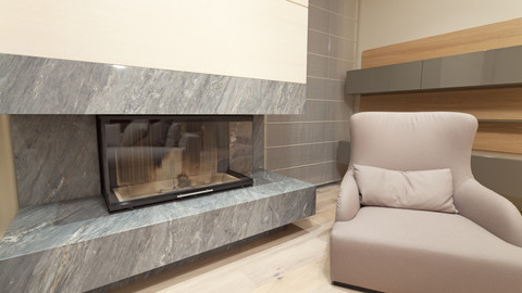 Contemporary Granite Fireplace