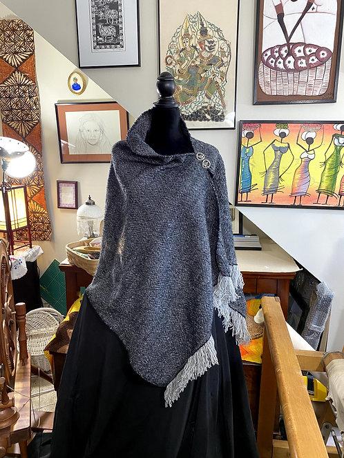 Natural Gray Merino and Silk Handwoven and Handspun Poncho