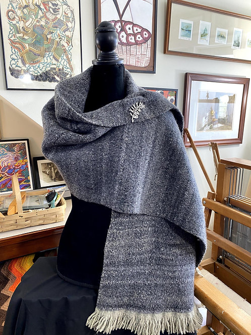 "Heavy Natural Grey Shetland Top Handwoven and Handspun Shawl (70""x28"")"