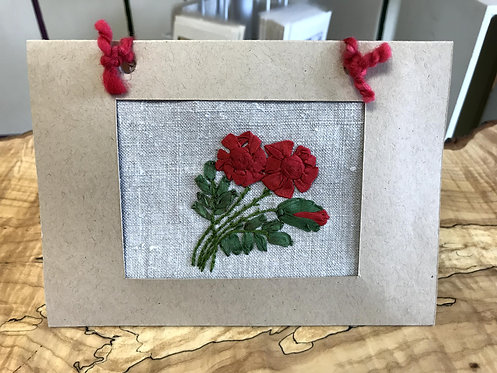 "Embroidered Card - Roses (5""x7"")"