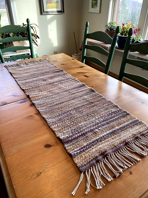 "Shades of Brown, Gray and Gold Handwoven and Handspun Table Runner (44"" x 15)"