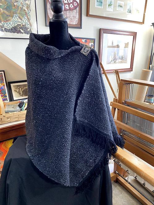 Black Merino and Silk Handwoven and Handspun Poncho