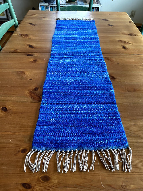 """Shades of Blue Handwoven and Handspun Table Runner (42"""" x 11"""")"""