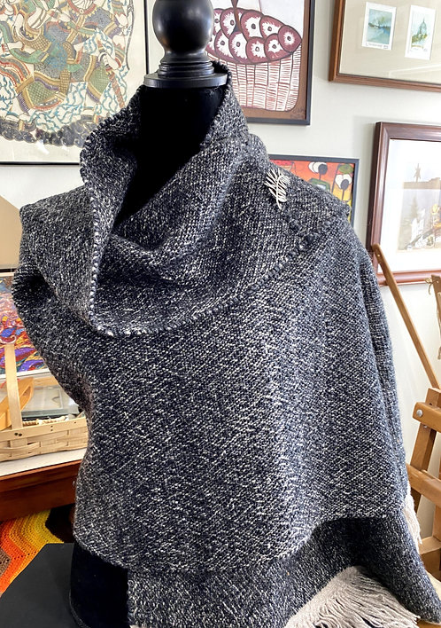 "Natural Dark Brown Shetland & Silk Handwoven and Handspun Shawl (74""x25"")"