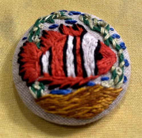 "Clown Fish Nemo Hand Embroidered Button - 1 7/8"" round"