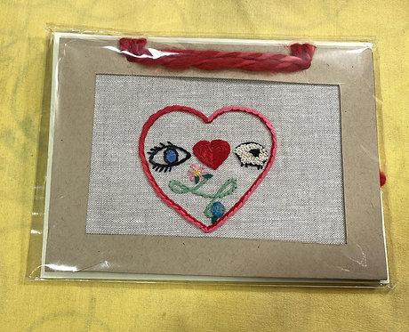 "Hand Embroidered Card - I Love Ewe (5""x 7"")"
