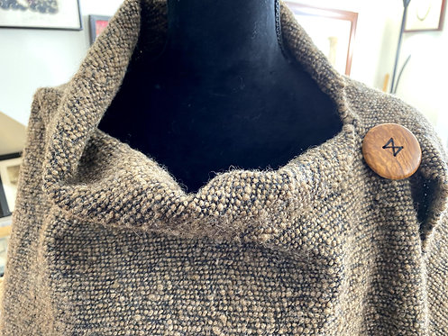 Natural Brown Shetland Top Handwoven and Handspun Poncho
