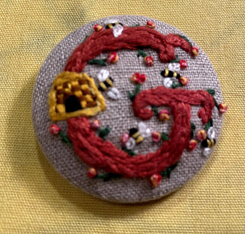 "Letter ""G"" Hand Embroidered Button - 1 7/8"" round"
