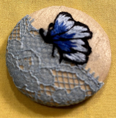 "Butterfly on Lace Hand Embroidered Button - 1 7/8"" round"