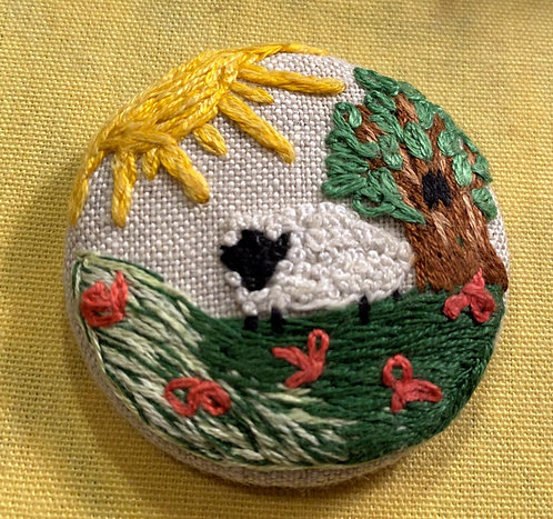 "Sheep in a Field Hand Embroidered Button - 1 7/8"" round"
