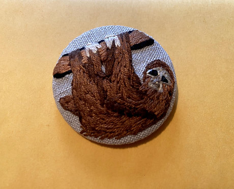 "Sloth Hand Embroidered Button - 1 7/8"" round"
