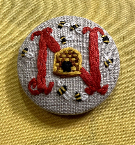 "Letter ""N"" Hand Embroidered Button - 1 7/8"" round"