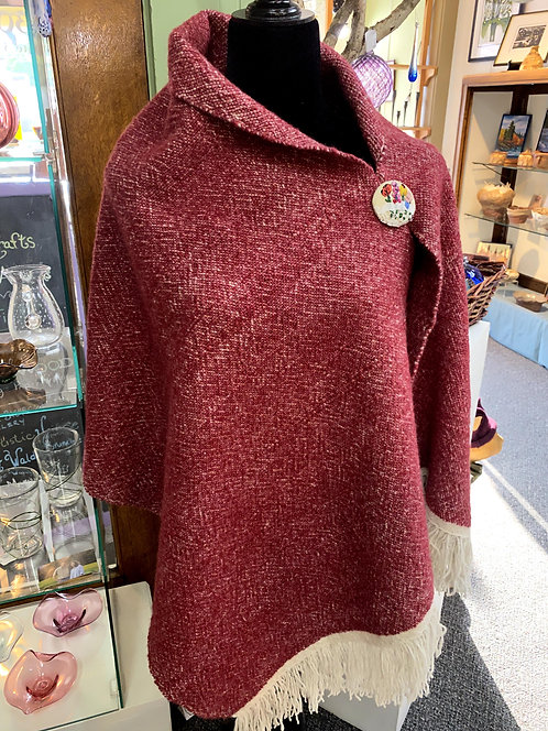 Merino & Silk Red Handwoven and Handspun Poncho with Hand Embroidered Button
