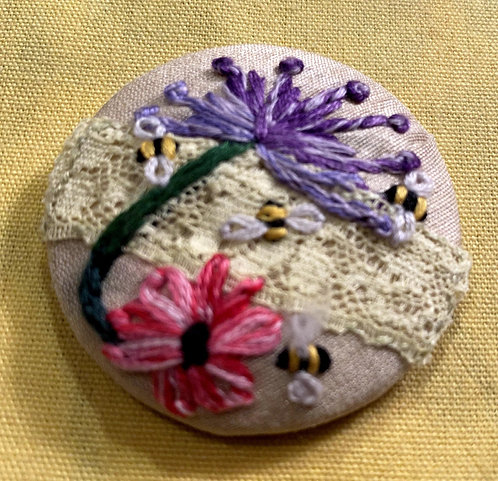 "Flowers and Bees Hand Embroidered Button - 1 7/8"" round"