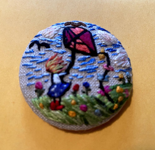 """Little Girl Flying a Kite Hand Embroidered Button - 1 7/8"""" round"""