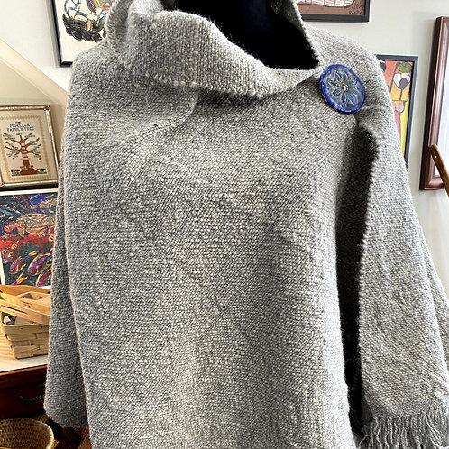 Natural Light Grey Wool Handwoven and Handspun Poncho