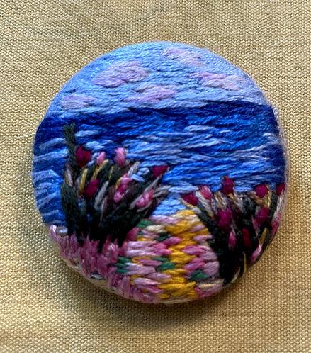 """Summer Beach Hand Embroidered Button - 1 7/8"""" round"""