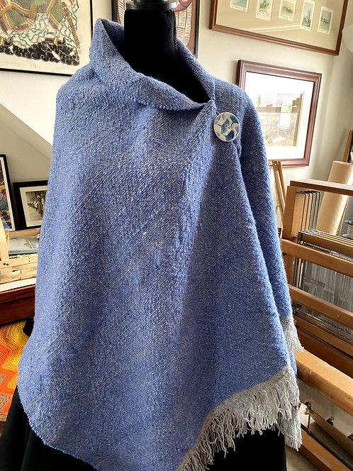 Blue Handwoven and Handspun Poncho - Merino & Silk