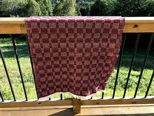 "Dark Red Handwoven Baby or Lap Blanket (42""x32"")"