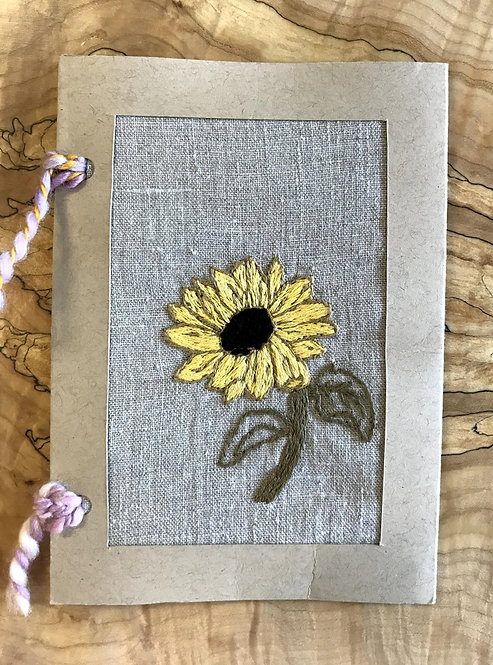 "Hand Embroidered Card - SUNFLOWER (5""x7"")"