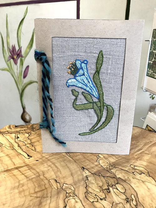 "Hand Embroidered Card -- Blue Lilly (5""x7"")"