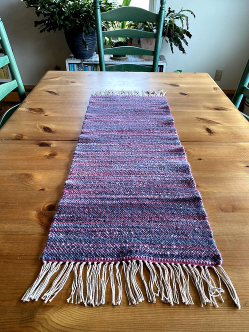 """OSU Red & Grey Handwoven and Handspun Table Runner (32"""" x 12)"""")"""