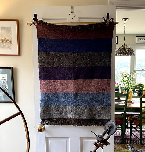 """Handwoven Seven Color Baby or Lap Blanket (34""""x28"""")"""
