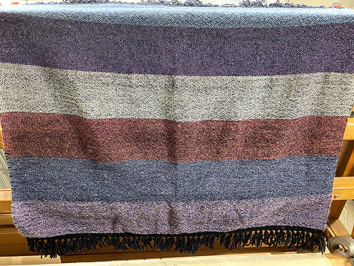 "Six-Color Handwoven Baby or Lap Blanket (22""x27"")"