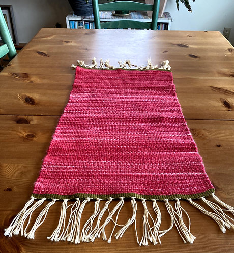 "Christmas Handwoven and Handspun Table Runner (21"" x 12"")"
