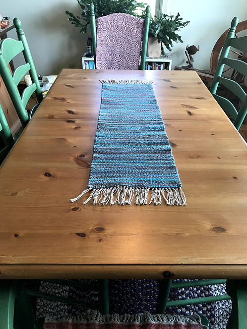 "Shades of Aqua and Brown Handwoven and Handspun Table Runner (36""x11"")"