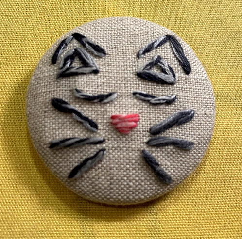 "Kitty Face Hand Embroidered Button - 1 7/8"" round"