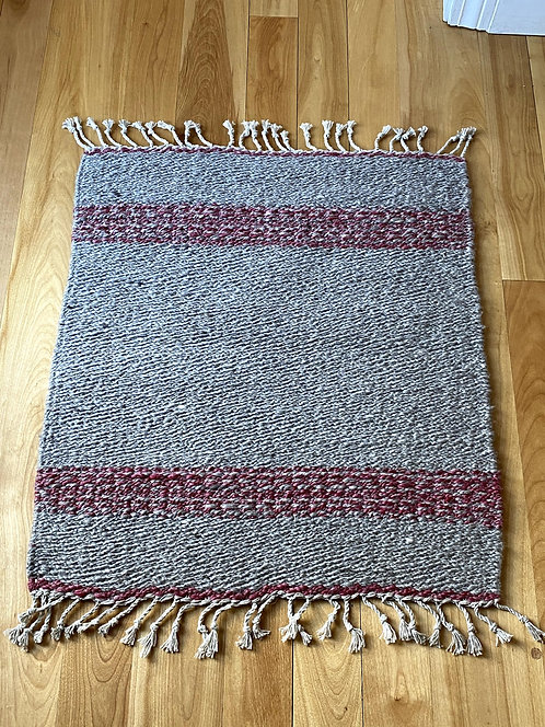 "Natural Grey Shetland Handspun and Handwoven Rug (26"" x 22"")"