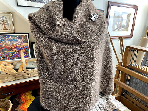 "Natural Brown Shetland Top Handwoven and Handspun Shawl (70""x28"")"