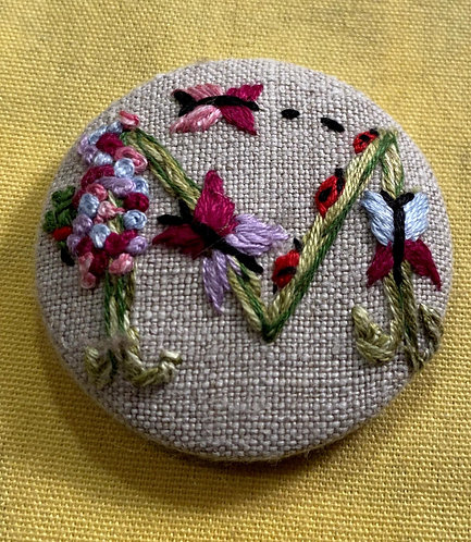 "Letter ""M"" Hand Embroidered Button - 1 7/8"" round"