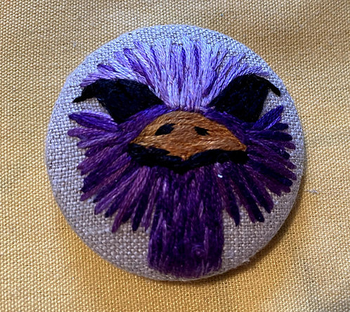 """Ostrich Head Hand Embroidered Button - 1 7/8"""" round"""