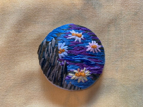 """Water Lilies Hand Embroidered Button - 1 7/8"""" round"""