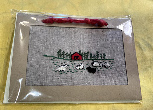 "Hand Embroidered Card - Field of Sheep (5""x7"")"