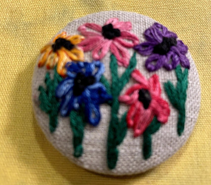 "Five Daisies Hand Embroidered Button - 1 7/8"" round"