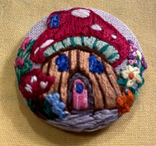 "Toad House Hand Embroidered Button - 1 7/8"" round"