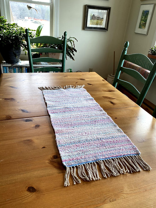 "Shades of Spring Handwoven and Handspun Table Runner (26"" x 11)"