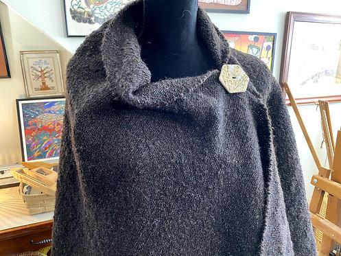 Natural Dark Brown Shetland Wool Handwoven and Handspun Poncho