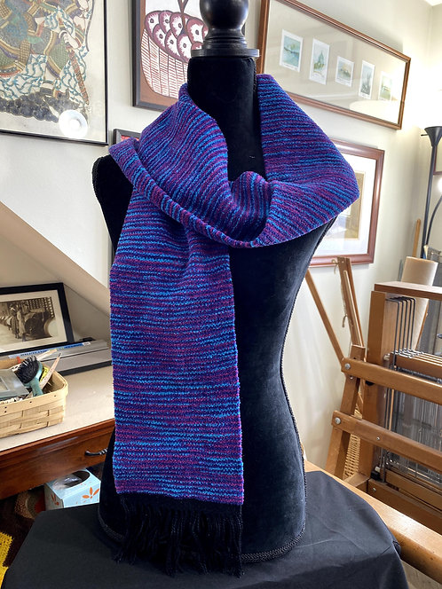 """Shades of Purple and Blue Handwoven Chenille Scarf (60""""x 6"""")"""