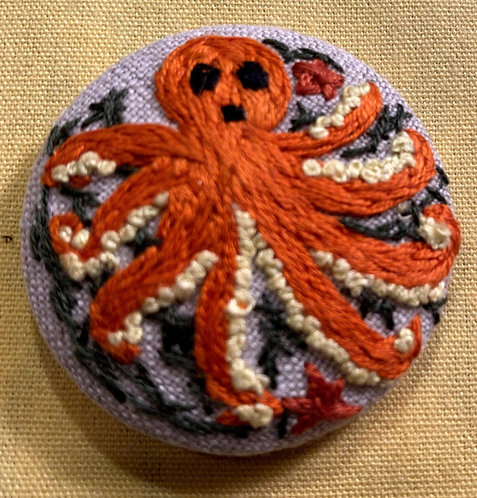 """Octopus Hand Embroidered Button - 1 7/8"""" round"""