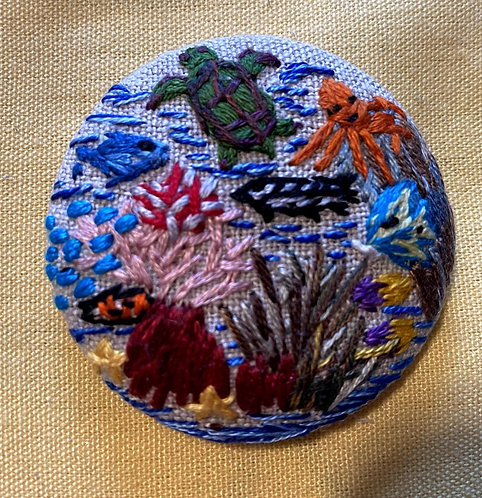 "Sea Life Hand Embroidered Button - 1 7/8"" round"