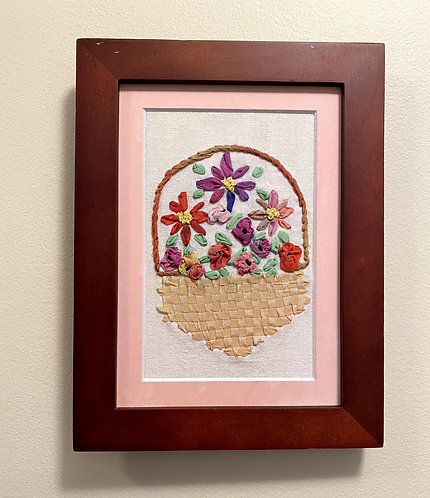 Basket of Flowers Hand Embroidered Picture