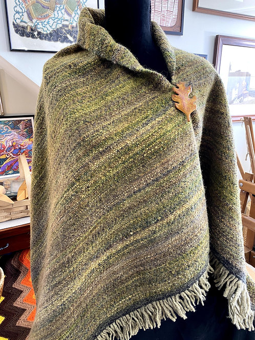 Shades of Green & Brown Handwoven and Handspun Poncho