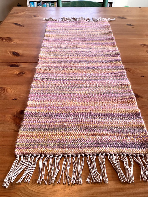 "Shades of Pink, Yellow and Brown Handwoven and Handspun Table Runner (34"" x 12"")"