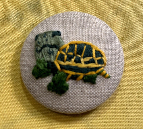 "Green Turtle Hand Embroidered Button - 1 7/8"" round"